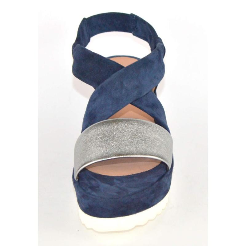 Altariva Sandali Cinturini incrociati Blu+argento Fondo cuoio
