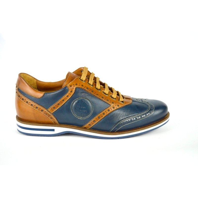 Galizio torresi Sneakers Intrecciata Blu + cuoio Fondo gomma