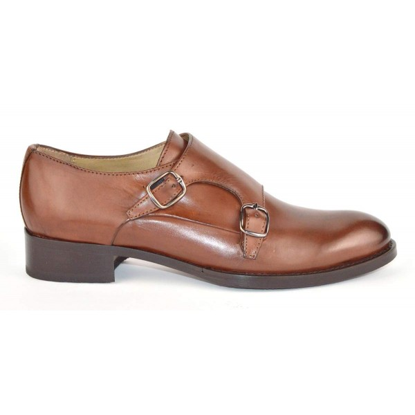 Altariva Pantofola Due fibbie Cuoio Fondo cuoio e gomma