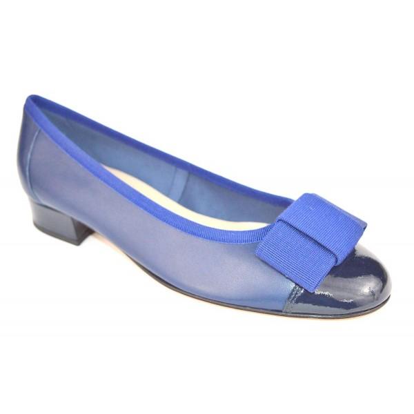 Altariva Ballerina Puntale Fiocco Blu Fondo cuoio