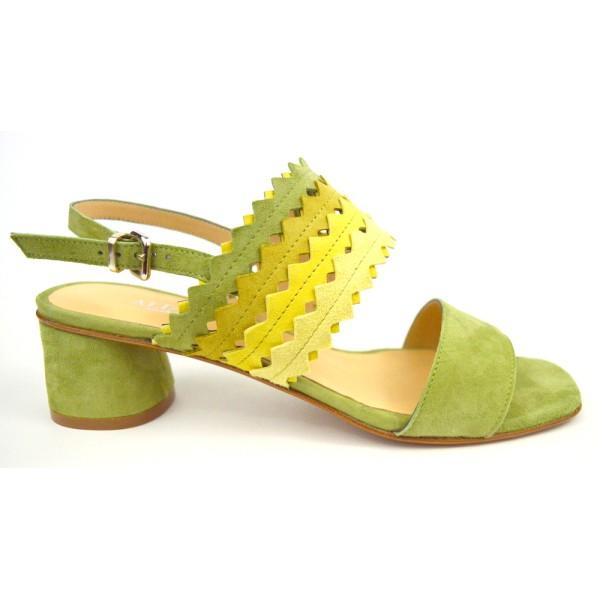 Legazzelle Sandali Verde + beige Fondo cuoio