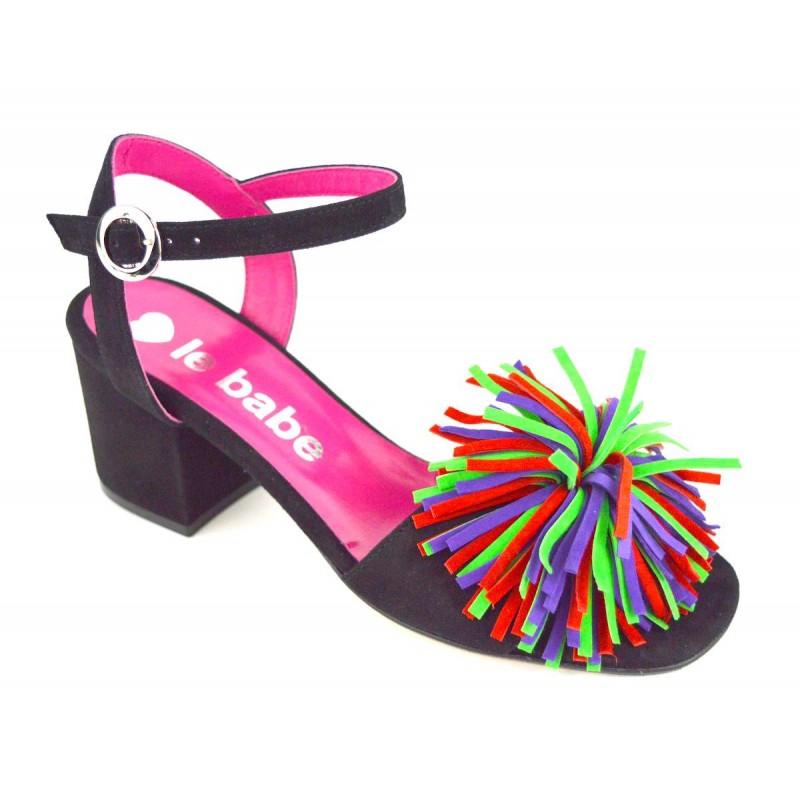 Le babe Sandali Ciuffo Nero + multicolore Fondo cuoio