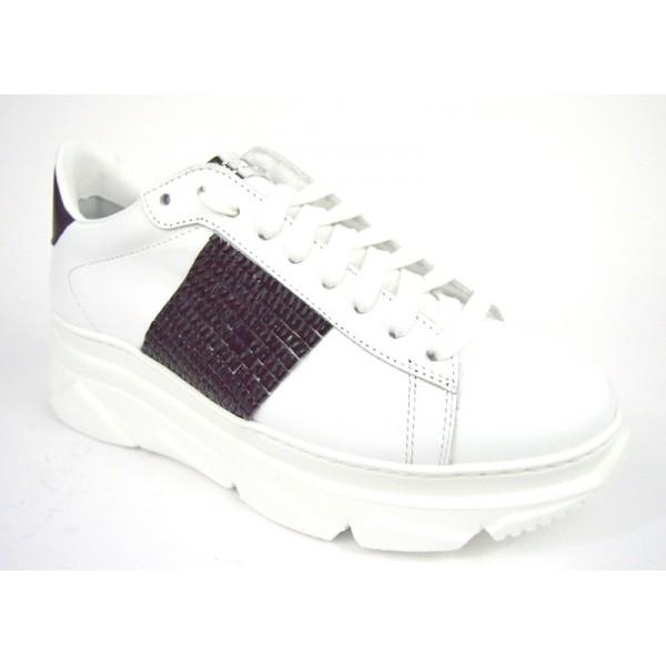 Stokton Sneakers Fascia laterale Bianco + nero Fondo gomma
