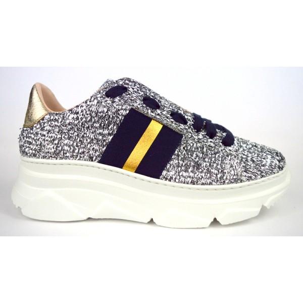 Stokton Sneakers Lame' Argento Fondo gomma
