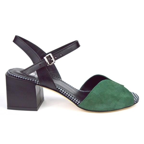 Altariva Sandali Verde+nero F.do cuoio