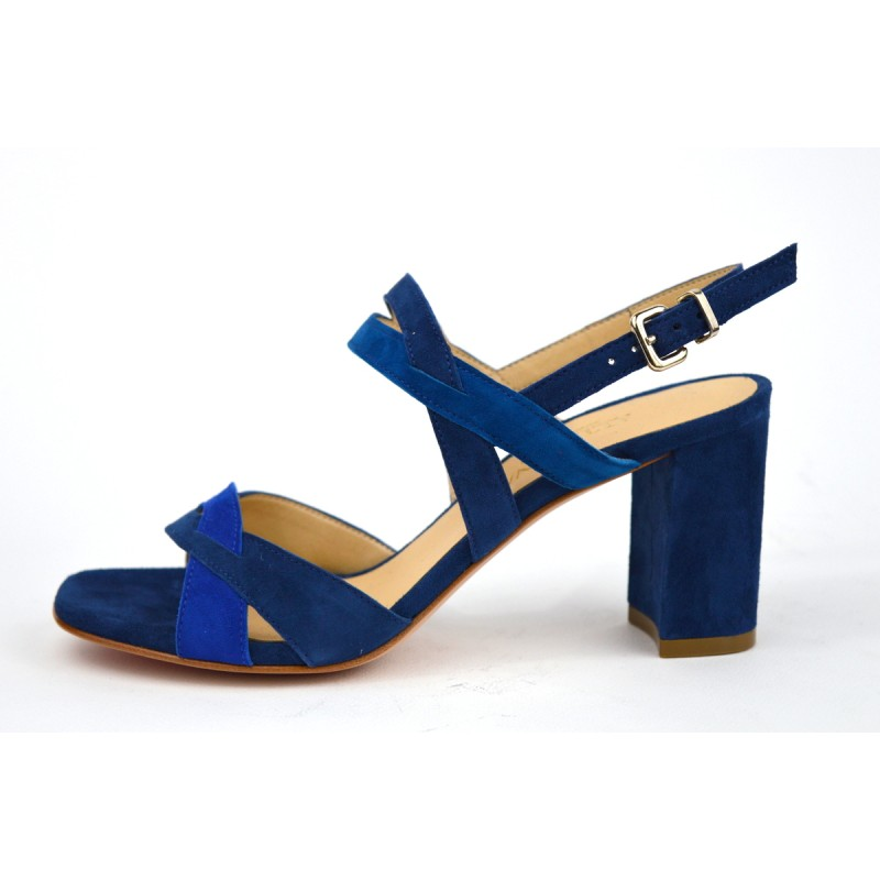Altariva Scarpa 2 fasce Incrociate Blu Suoletta gomma