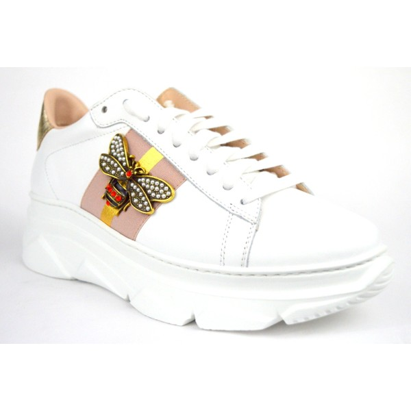 Stokton Sneakers Bianco + cipria Fondo gomma