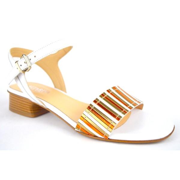 Altariva Sandali Bianco+oro+arg Fondo cuoio