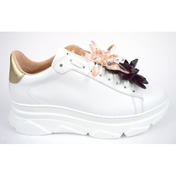 Stokton Sneakers Fiori Cristal Bianco Fondo gomma