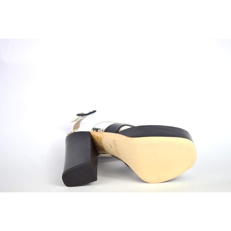 Lella baldi Scarpa Nero + bianco Fondo cuoio