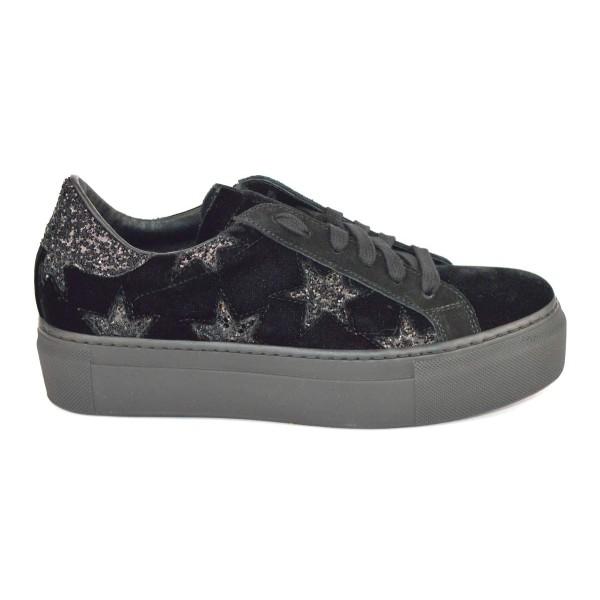 Stokton Sneakers Stelle Nero Fondo gomma