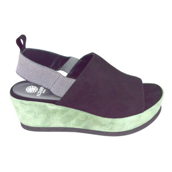 Altariva Sandali Elastico posteriore Verde + nero Fondo gomma