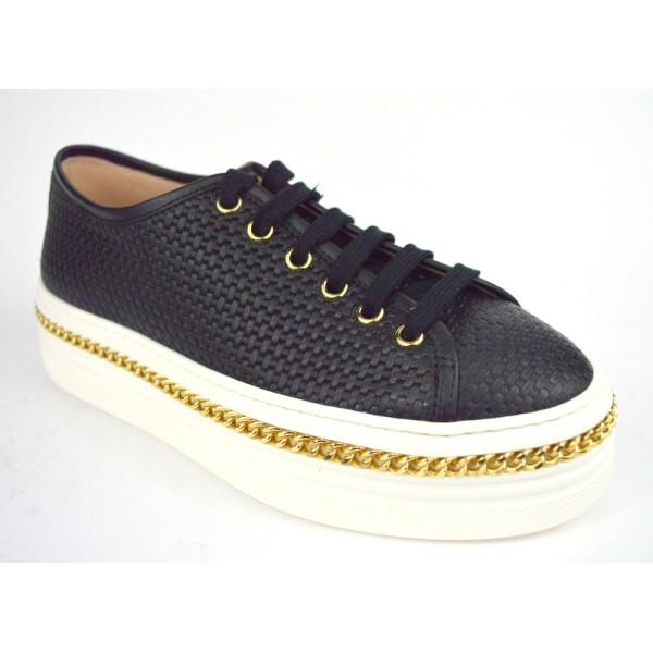 Stokton Sneakers Catena Intrecciata Nero Fondo gomma