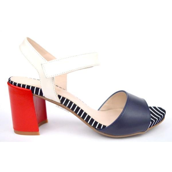 Ancarani Sandali Multi Nero + bianco + rosso Fondo cuoio