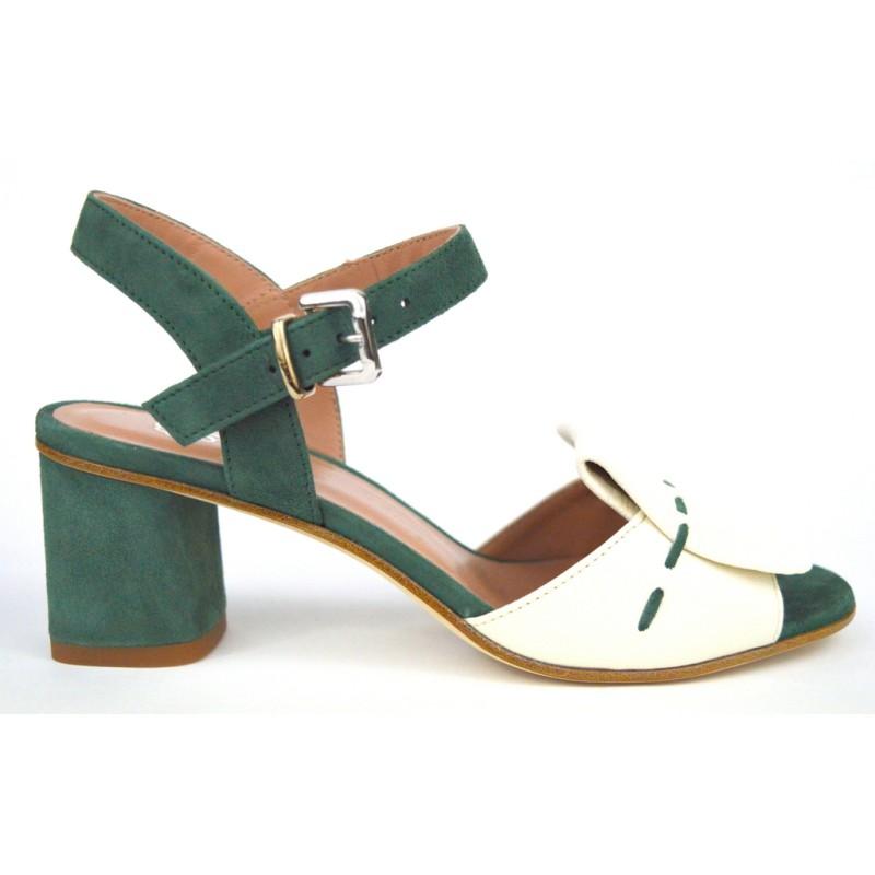 Altariva Sandali Patta Bianco+verde F.do cuoio