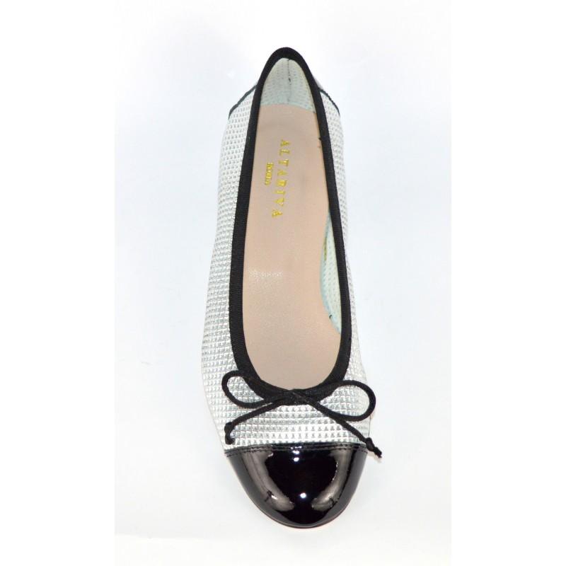 Altariva Ballerina Puntale Forata Nero + argento Fondo cuoio