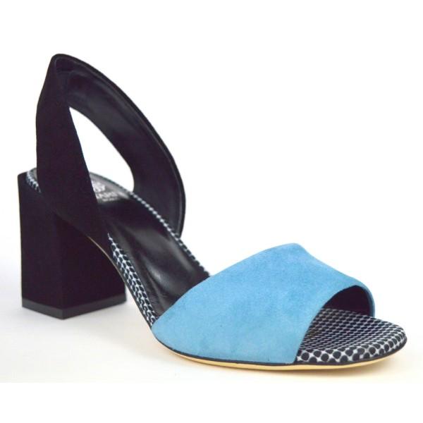 Altariva Sandali Blu+nero F.do cuoio