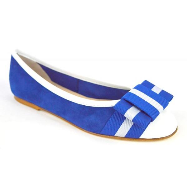 Altariva Ballerina Puntale Fiocco Blu+argento Fondo cuoio