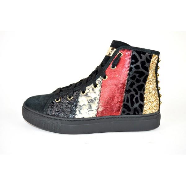 Stokton Sneakers Alta Patch Nero+rosso+bianco G