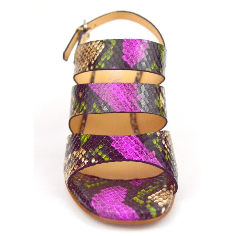 Legazzelle Sandali Tre fasce Multicolore Fondo cuoio