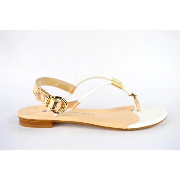 Bottega dell'artigiano Scarpa Infradito Cinturino Bianco + oro Fondo cuoio