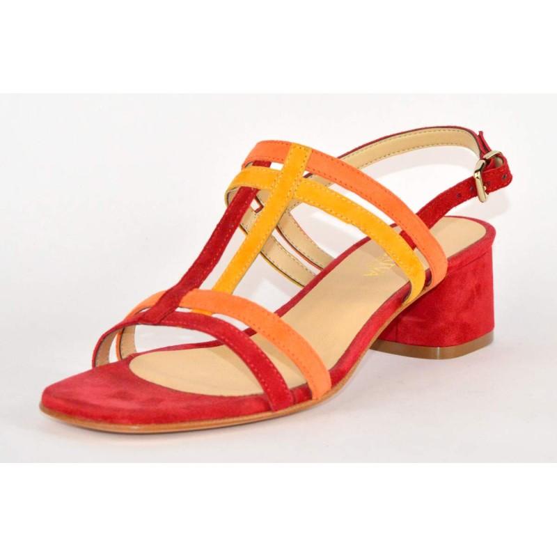 Altariva Sandali Cinturino Multicolore Rosso +  arancio Fondo cuoio