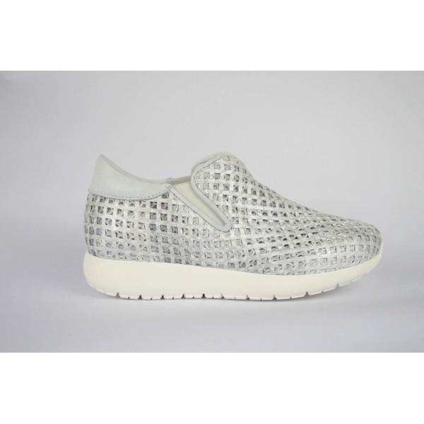 Andia fora Slippon Sneakers Rete Bianco + argento Fondo gomma