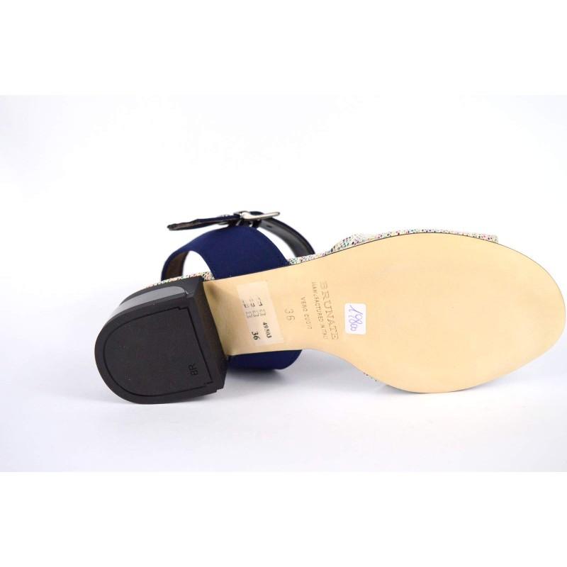 Brunate Scarpa Blu + multicolore Fondo cuoio
