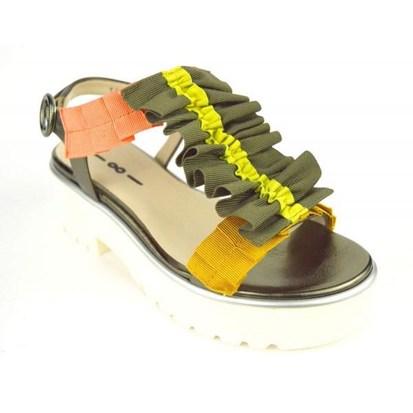 181 Sandali Multicolore Kaki Fondo gomma