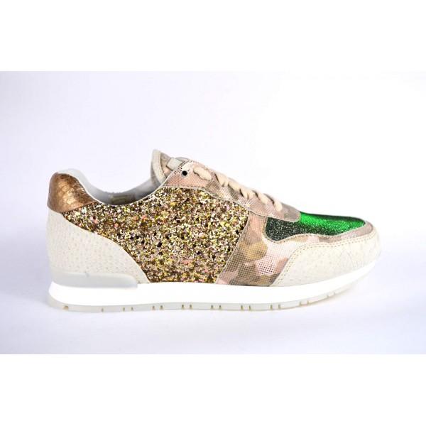 Stokton Sneakers Beige + oro Fondo gomma