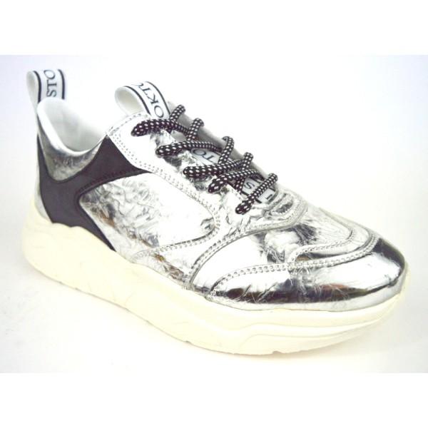 Stokton Sneakers Metallizzato Argento Fondo gomma