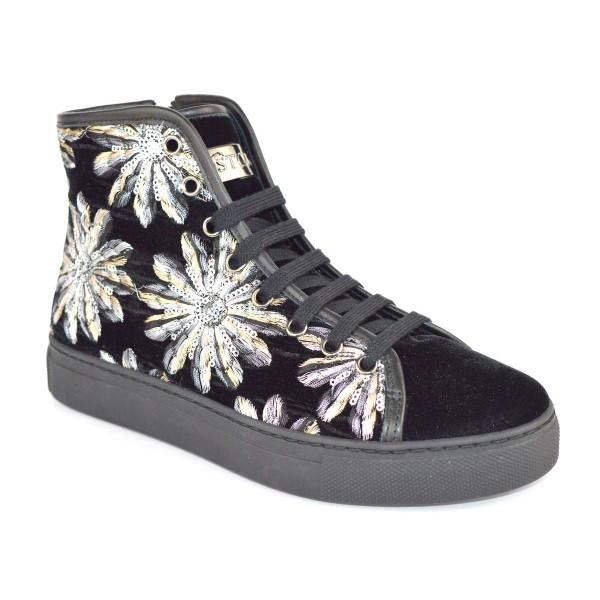 Stokton Sneakers Alta Ricamo Nero + argento Fondo gomma