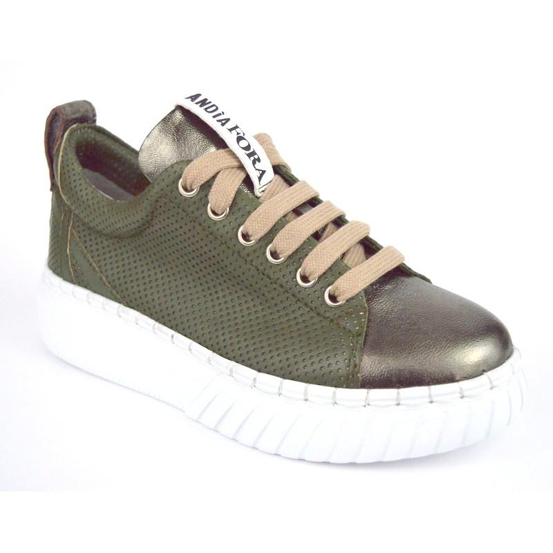 Andia fora Sneakers Traforata Verde + oro Fondo gomma