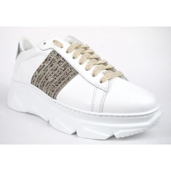 Stokton Sneakers Bianco+argento Fondo gomma