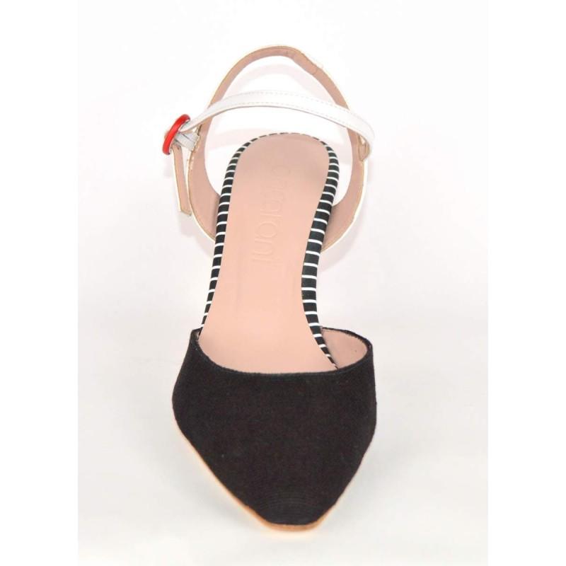 Ancarani Chanel Nero+bianco+rosso Fondo cuoio
