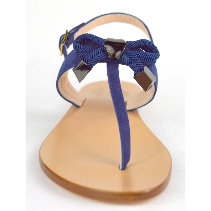 Altariva Infradito Fiocco Blu Fondo cuoio