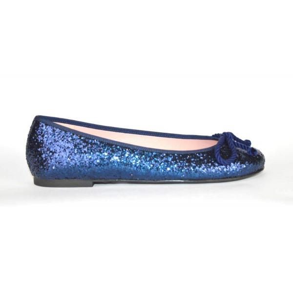 Prettyballerinas Ballerina Glitter Blu Fondo gomma
