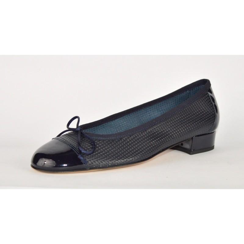 Altariva Ballerina Puntale Forata Blu Fondo cuoio