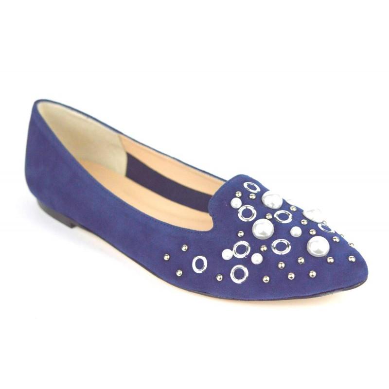 Altariva Pantofola Perle Blu Fondo cuoio