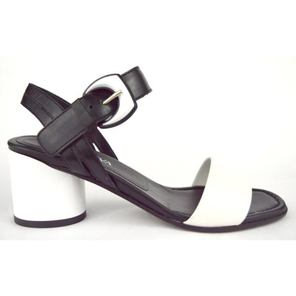Altariva Sandali Nero + bianco Fondo cuoio