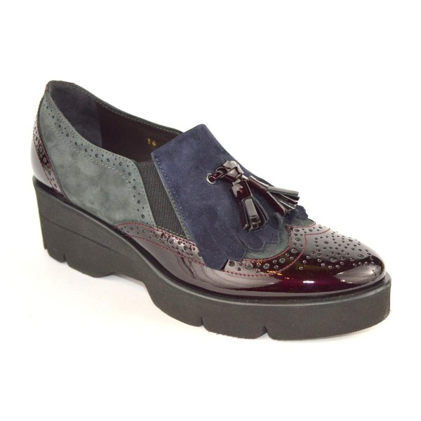 Altariva Pantofola Frangia Bordo' + grigio + blu Fondo gomma