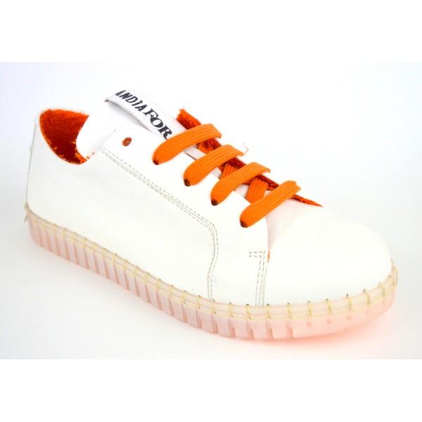 Andia fora Sneakers Bianco+arancio Fondo gomma