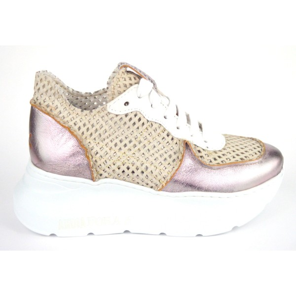 Andia fora Sneakers Traforata Bianco + rame Fondo gomma