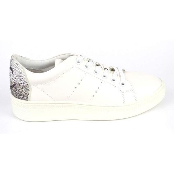 Lola cruz Sneakers Strass Smile Bianco + argento Fondo gomma