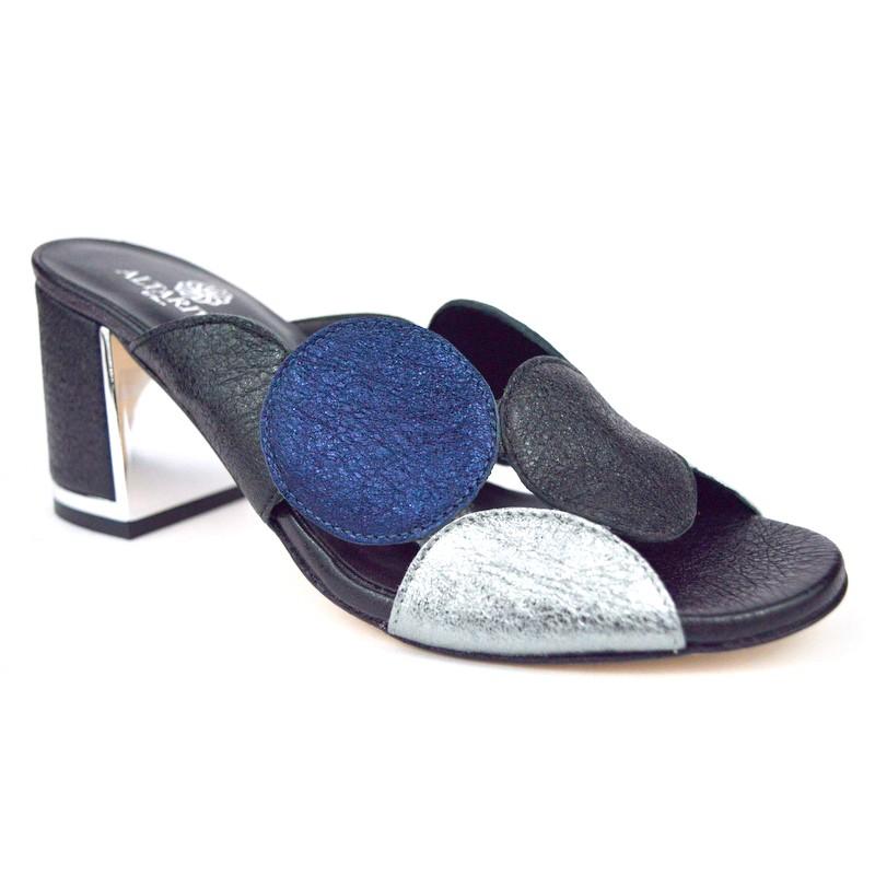 Altariva Pianella Cerchi Nero+argento+blu Fondo cuoio