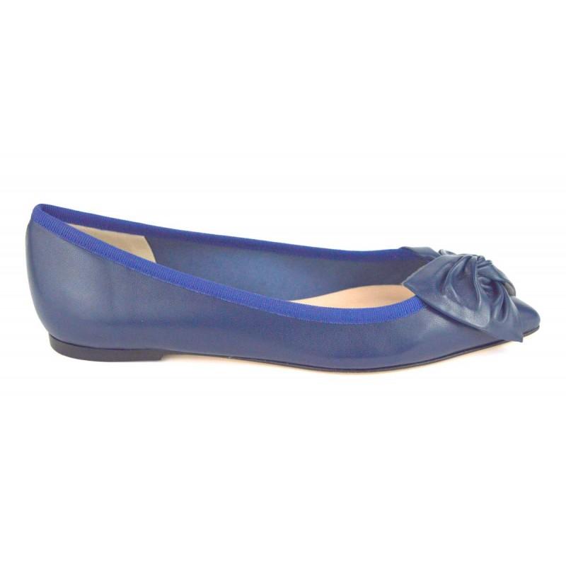Altariva Ballerina Fiocco Blu Fondo cuoio