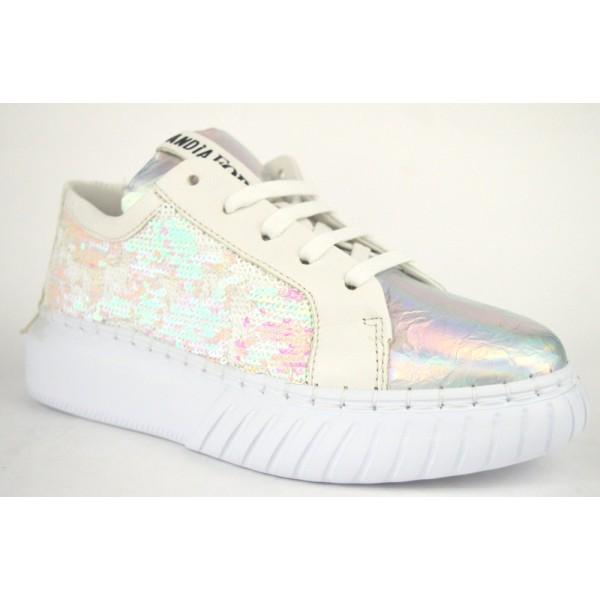 Andia fora Sneakers Paiettes Bianco Fondo gomma