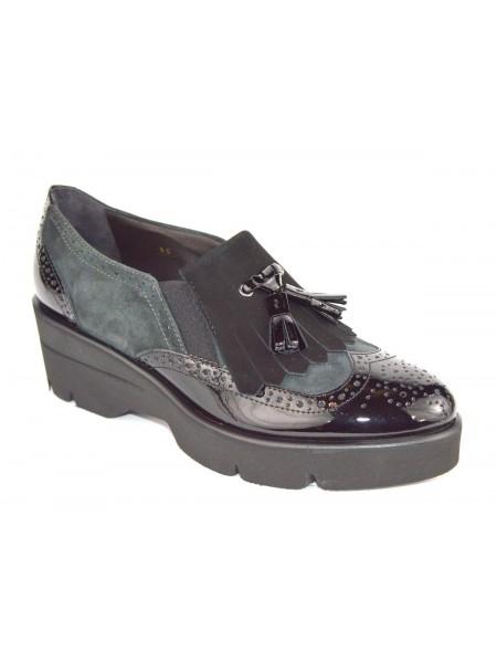 Altariva Pantofola Frangia Nero + grigio Fondo gomma