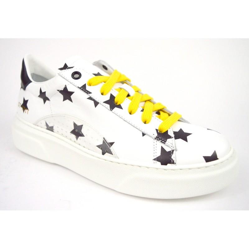 Stokton Sneakers Stelle Bianco + nero Fondo gomma
