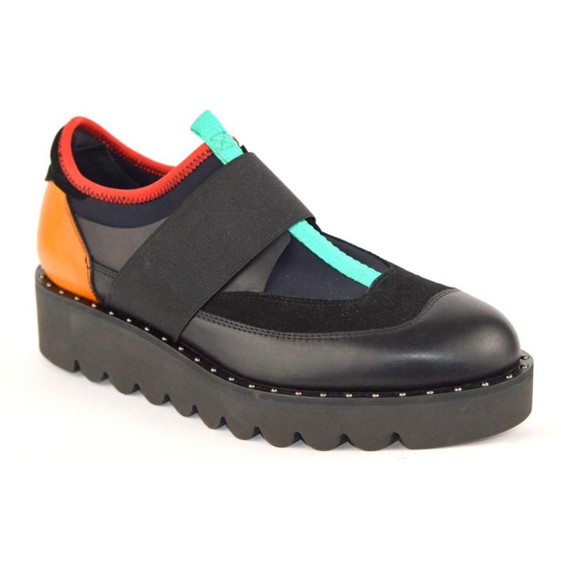 Truman's Sneakers Elastici Pantofola Nero + verde + giallo Fondo gomma